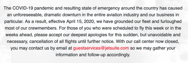 JetSuite grounded