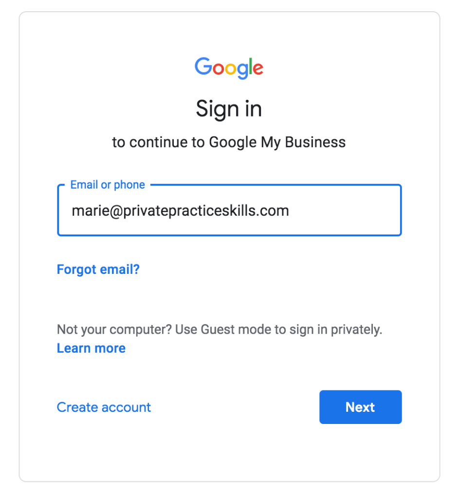 Setup Google My Business for Private Practice