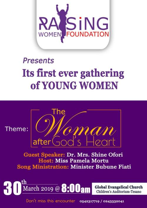 Raising Women Foundation set to host it First Gathering of young Women