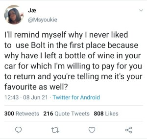 A Bolt Driver Refused To Return My Bottle of Wine - A Lady Narrates