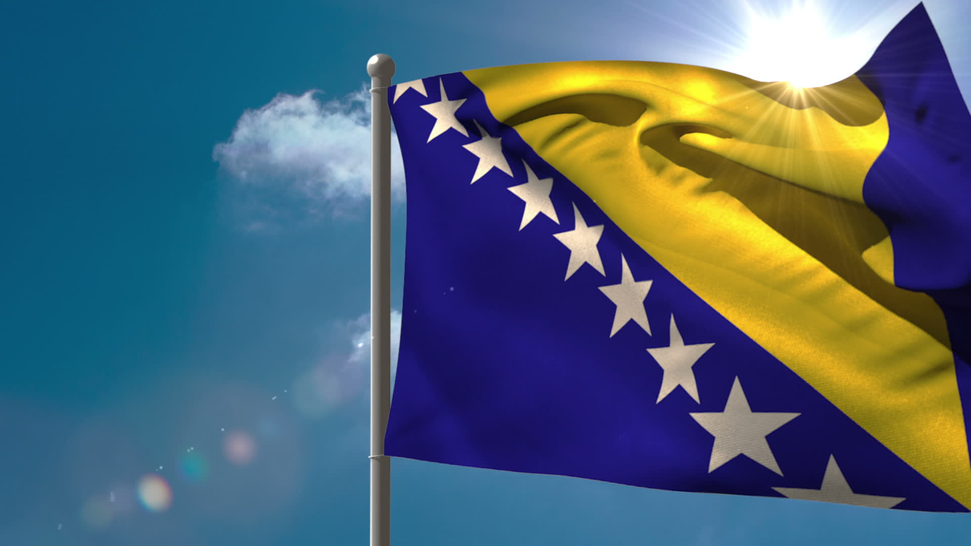 Stock Footage Bosnia National Flag Waving On Flagpole On Blue Sky Background