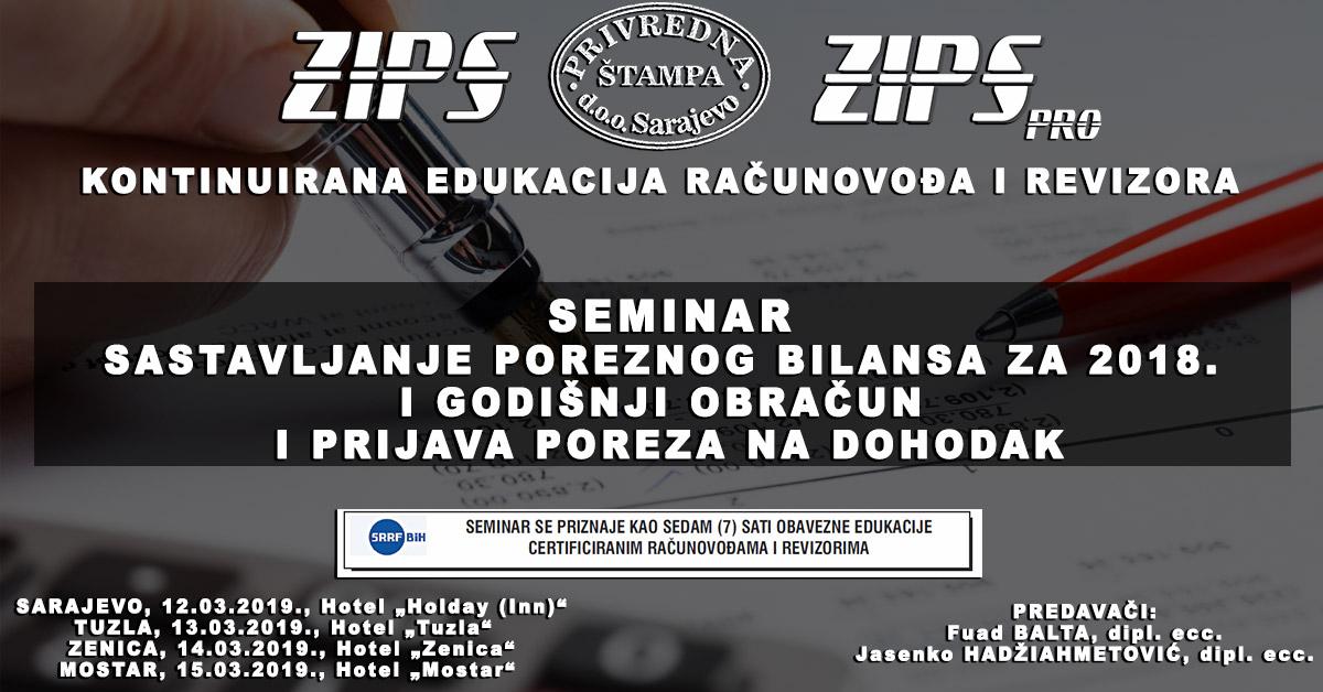ZIPSpro Seminari Od 12. – 15. Marta U Sarajevu, Tuzli, Zenici I Mostaru