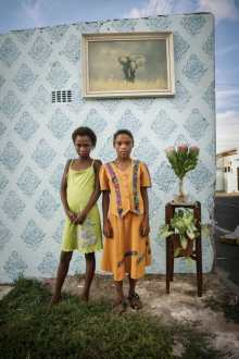 Alexia Webster, Two friends pose for their portrait on the corner of Cornwell and Hercules Street in Woodstock, Cape Town, South Africa. 2011
