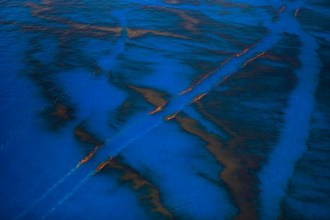 Oil Spill #9: Oil-free paths from boats attempting to clean up the crude spill off the coast of Louisiana.