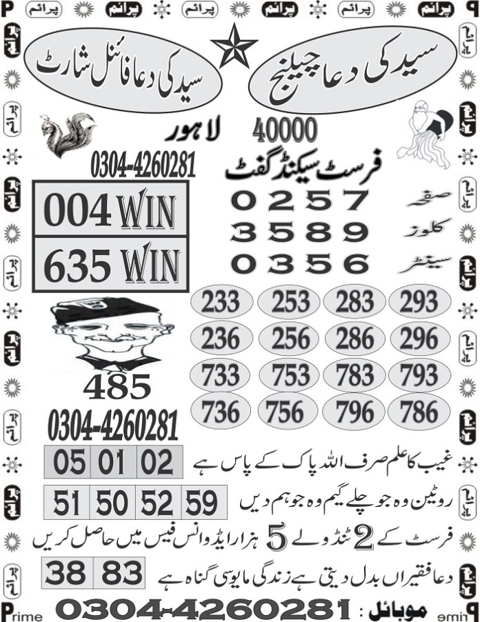 Prize bond Guess Papers 40000 March 2018 Draw Lahore (3)