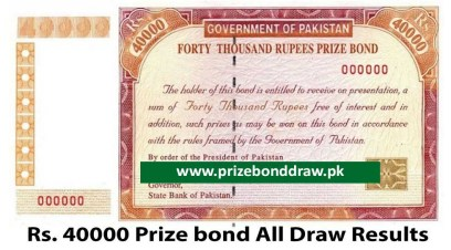 Rs. 40000 Prize bond Draw All Results
