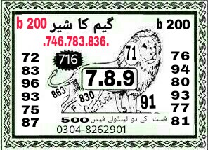Game ka sher 200 Prize bond Guess Papers