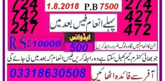 Pindi Ka Badsha 7500 Prize bond Guess Papers August 2018