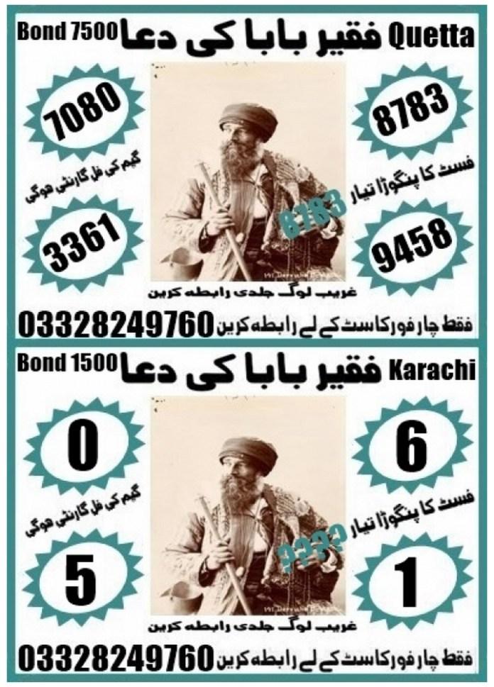 Niaz khan 1500 Prize bond Guess Papers August, 2018 Karachi