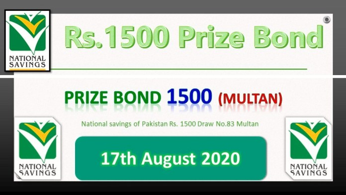 Rs. 1500 Prize bond Multan 17.08.2020
