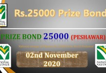 Rs. 25000 Prize bond Draw No.35 List 02 November 2020
