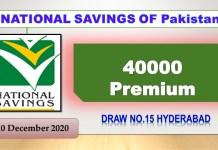Rs. 40000 Premium Prize bond List 10 December 2020 Draw No.15 Hyderabad Results online