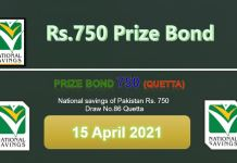 Rs. 750 Prize bond List 15 April 2021 Draw No.86 Quetta Results online