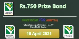 Rs. 750 Prize bond List 15 April 2021 Draw No.86 Quetta Results online