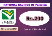 Rs. 200 Prize bond List 15 September 2021