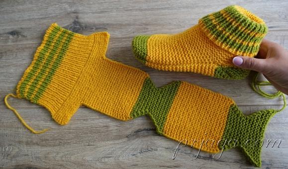 Socks on two knitting needles Turkish knitting