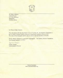 PRN donates Sonogram to St. Philip's Roman Catholic Mission in Swaziland