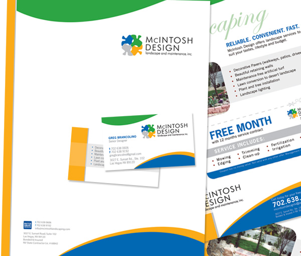 Marketing collateral design pro file marketing custom business cards letterheads flyer marketing collateral design and printing client mcintosh design landscape and maintenance las vegas nv reheart Choice Image
