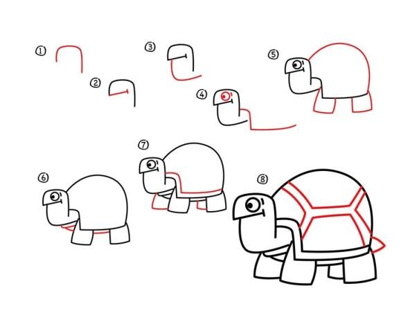 01. Как нарисовать черепаху в мультяшном стиле