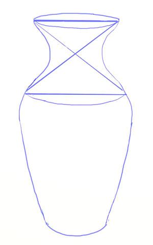 Уточняем контуры всего рисунка вазы