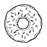 Черно-белая распечатка для ЛД-Аппетитный пончик