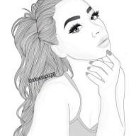 Черно-белая распечатка для ЛД-Девушка