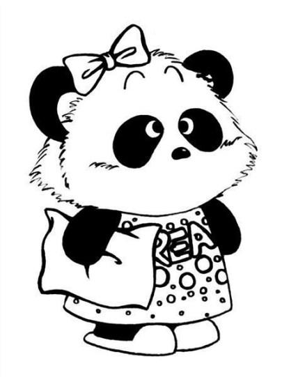 Черно-белая распечатка для ЛД-животное с синяками под глазами