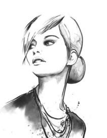 Черно-белая распечатка для ЛД-красивая девушка