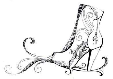 Черно-белая распечатка для ЛД-туфля с Узорами