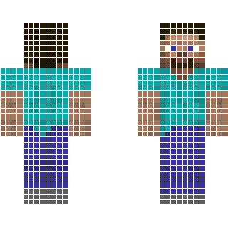 рисунки по клеточкам майнкрафт Скины, персонажи