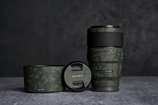 Sony FE 90mm f/2.8 Macro G OSS E-Mount Lens - Protective Lens Guard Wrap Green Shadow Camouflage Skin