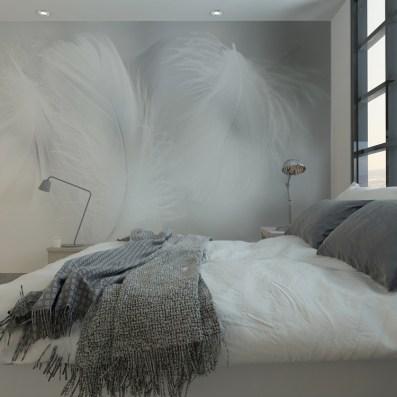 Tête de lit originale avec un papier peint plumes pour la ...