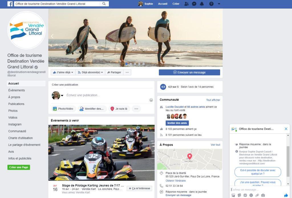 Page Facebook de l'Office de Tourisme Destination Vendée Grand Littoral