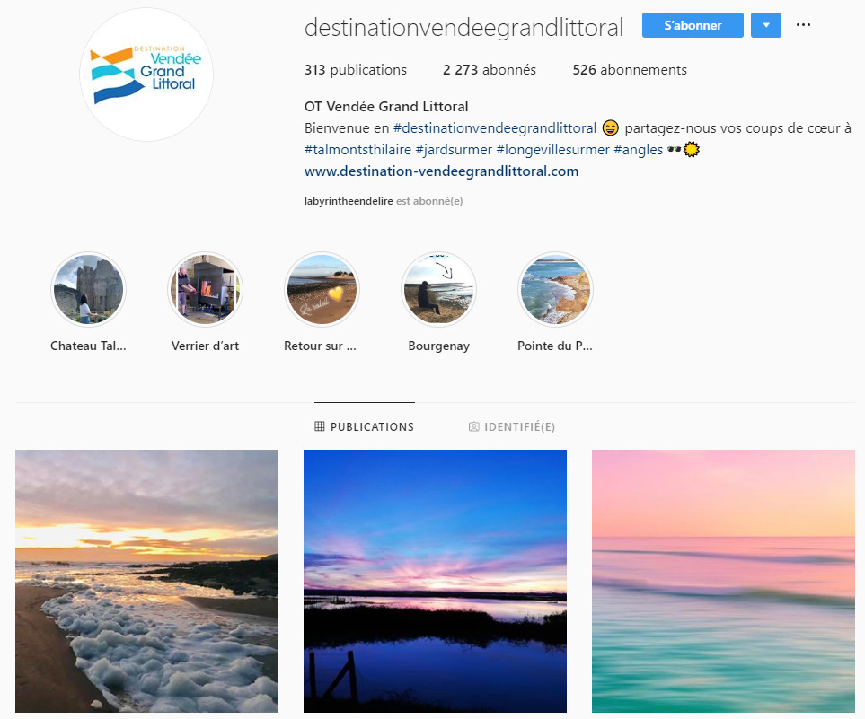 Instagram Office de tourisme Destination Vendée Grand Littoral