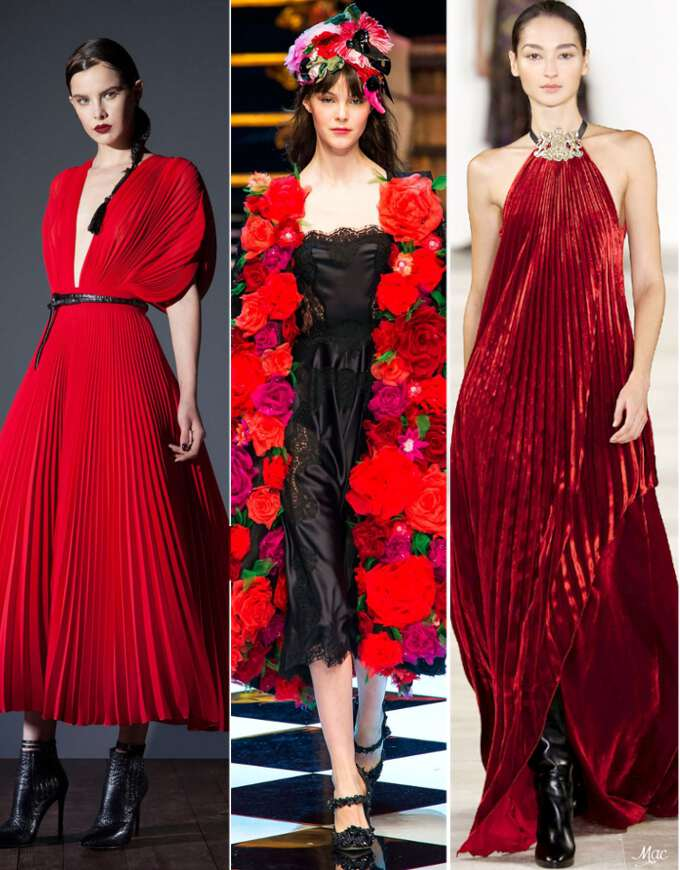 новогодние наряды в красных тонах