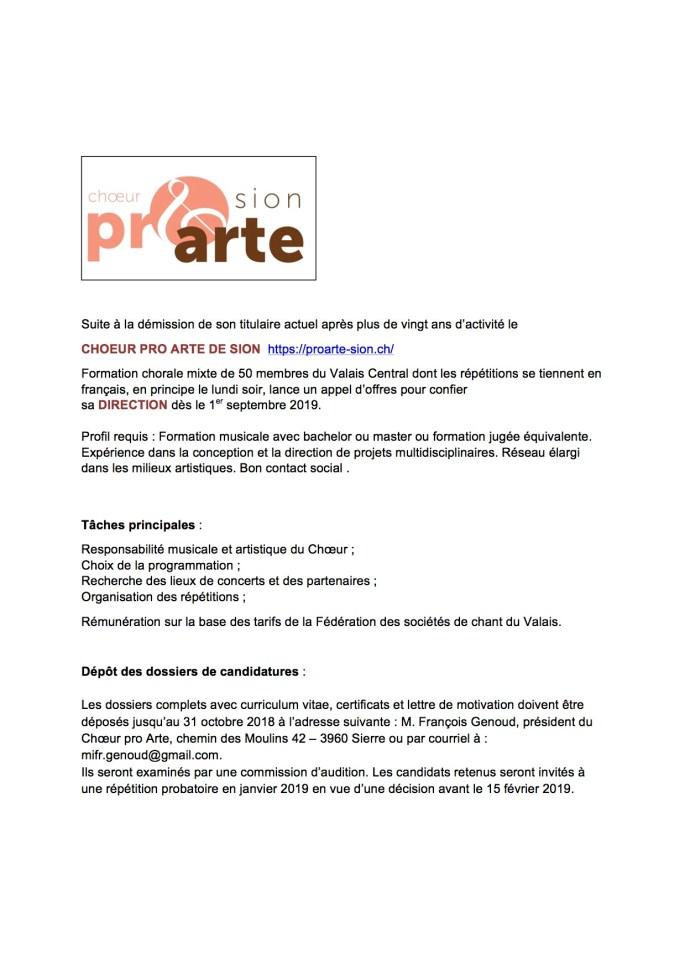 Annonce Pro Arte 2018 jpeg