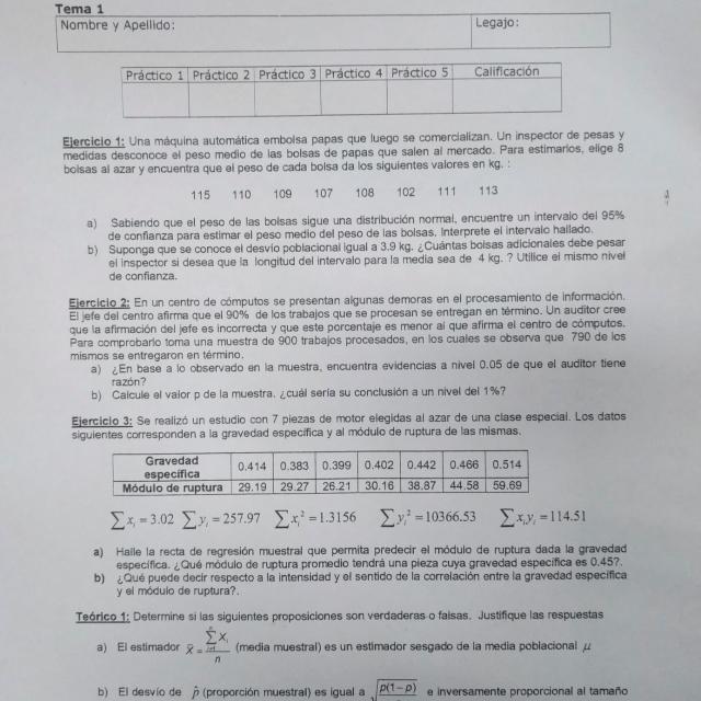 Segundo Parcial Probabilidad y Estadística – UTN – FRBA – [29-06-2016]