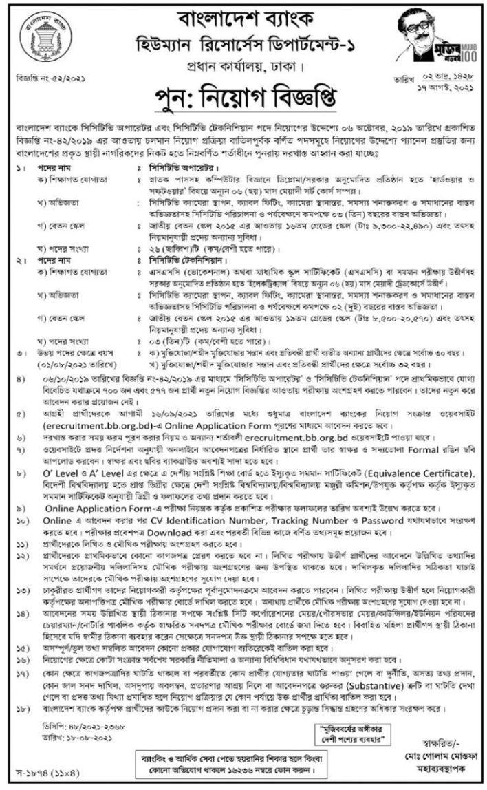 বাংলাদেশ জব সার্কুলার 2021