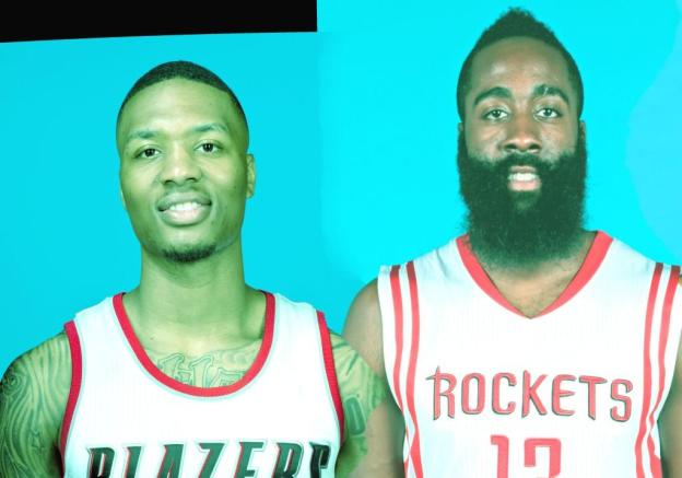 NBA Portland Trail Blazers Damian Lillard and Houston Rockets James Harden