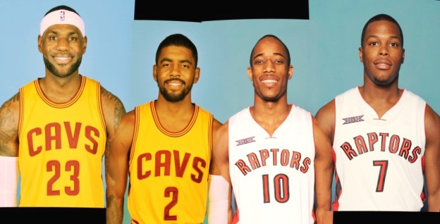 NBA Cleveland Cavaliers LeBron James, Kyrie Irving and Toronto Raptors DeMar DeRozan, Kyle Lowry