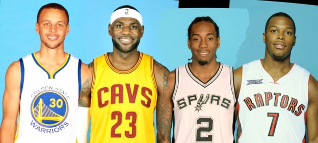 NBA Golden State Warriors Stephen Curry, Cleveland Cavaliers LeBron James, San Antonio Spurs Kwahi Leonard, Toronto Raptors Kyle Lowry
