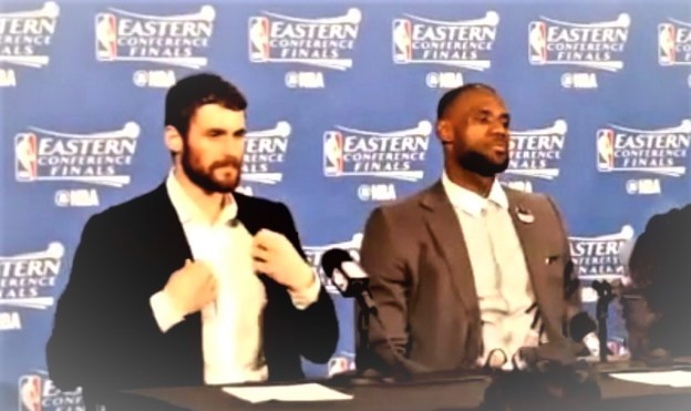 NBA Cleveland Cavaliers Kevin Love and LeBron James