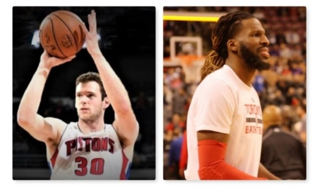 NBA Detroit Pistons Jon Leuer and Toronto Raptors DeMarre Carroll