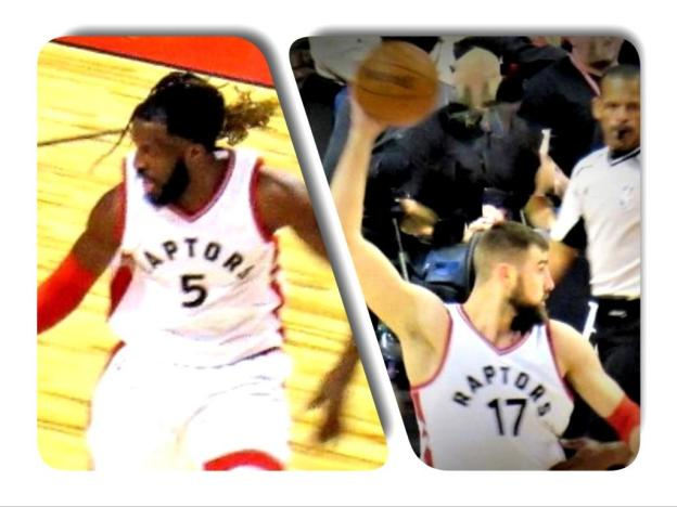 NBA Toronto Raptors Jonas Valanciunas and DeMarre Carroll