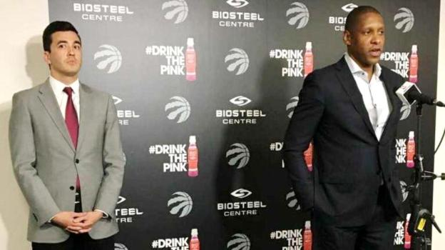 NBA Toronto Raptors president Masai Ujiri and GM Bobby Webster