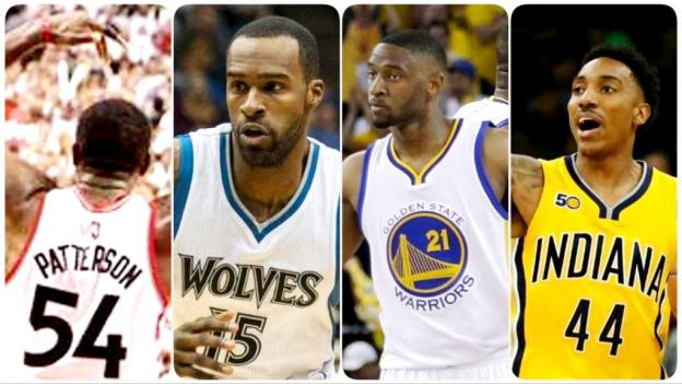 2017 NBA free agents Raptors Patrick Patterson and Timberwolves Shabazz Mohammad and Warriors Ian Clark and Pacers Jeff Teague collage