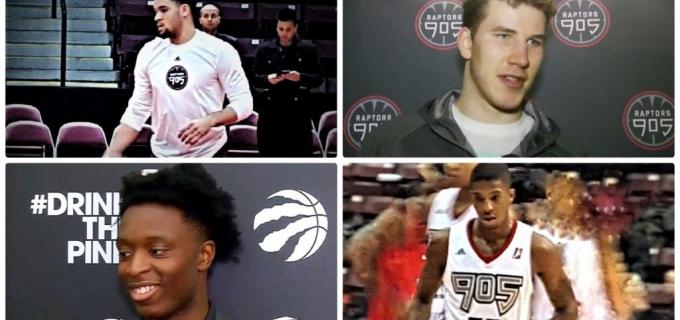 NBA Toronto Raptors Fred VanVleet and Delon Wright and Jakob Poeltl and OG Anunoby