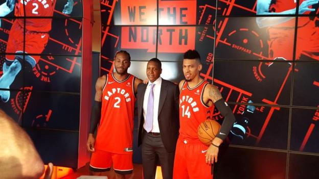 NBA Toronto Raptors Kawhi Leonard and Masai Ujiri and Danny Green 2018 media day