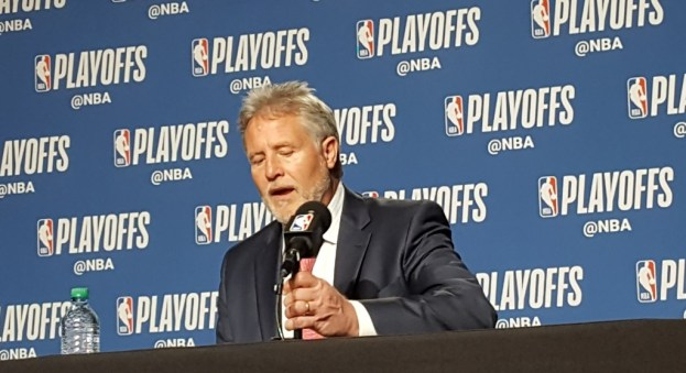 NBA Philadelphia 76ers head coach Brett Brown talks to the media after the game 5 loss to the Raptors in Toronto