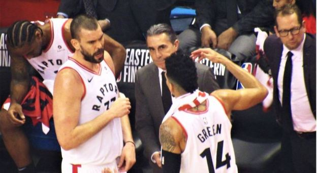 Raptors time out during Eastern Conference Playoffs vs Bucks game 4 by Larry Millson
